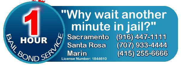 1 hour bail bonds Sacramento, Santa Rosa, Marin Logo